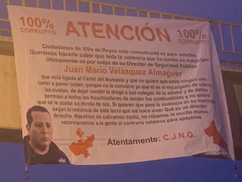 """""""Encargado de cobrar cuotas"""", CJNG deja narcomensaje amenazando al director de seguridad de estar vendido con el CDN en SLP"""