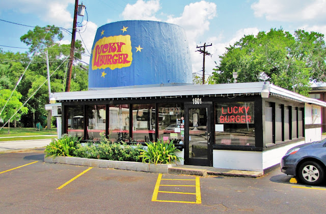 Archival photo of Lucky Burger (since demolished) in Montrose, Richmond Ave Houston TX corner of Mandell Street