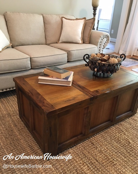 An American Housewife The Ashley Furniture Rustic Brown Tamonie Farmhouse Or Beach Style Chest Coffee Table With Storage I Love It
