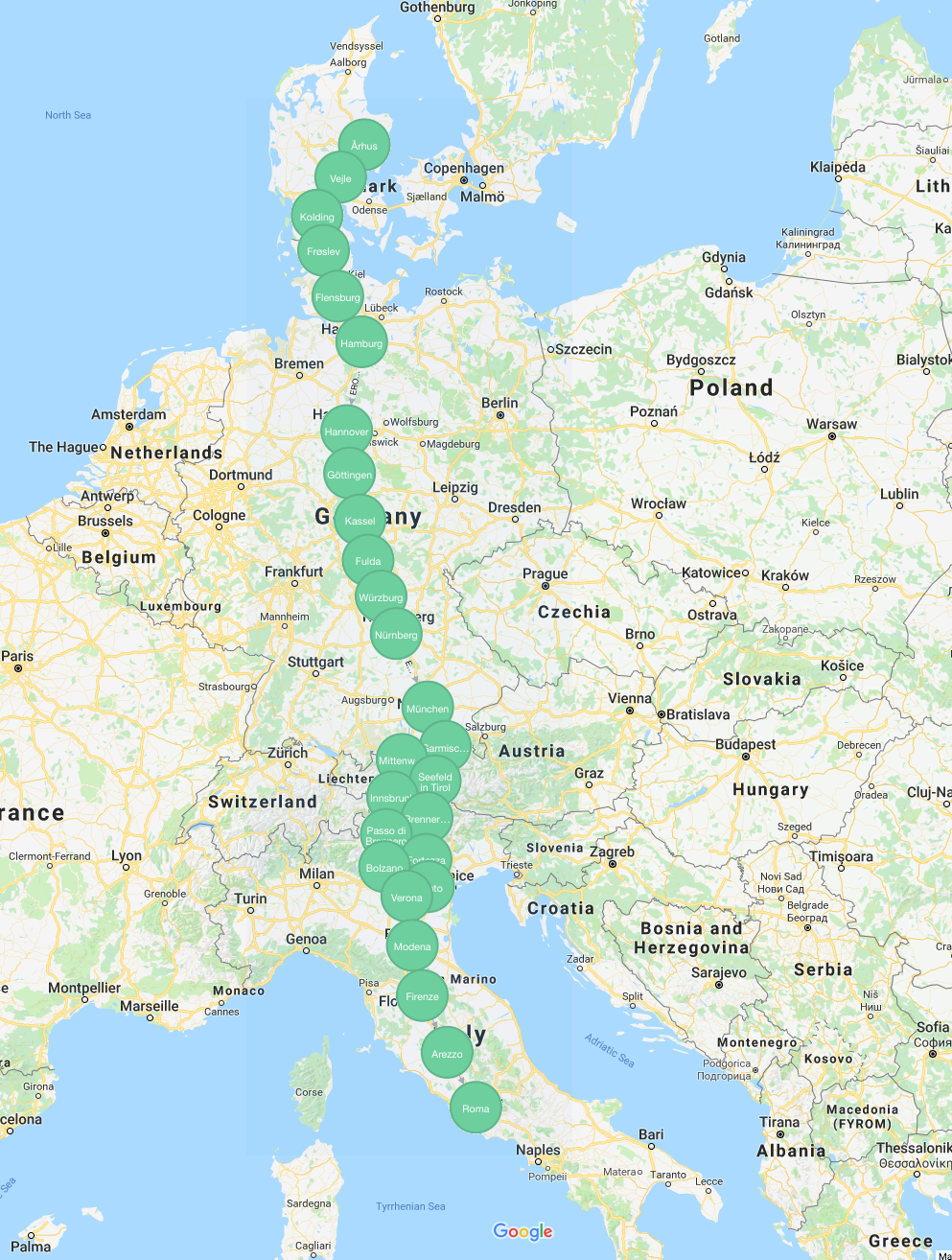 neat and simple query giving us a path with 26 hops 2147 km and quite straight looking on the map we have a winner