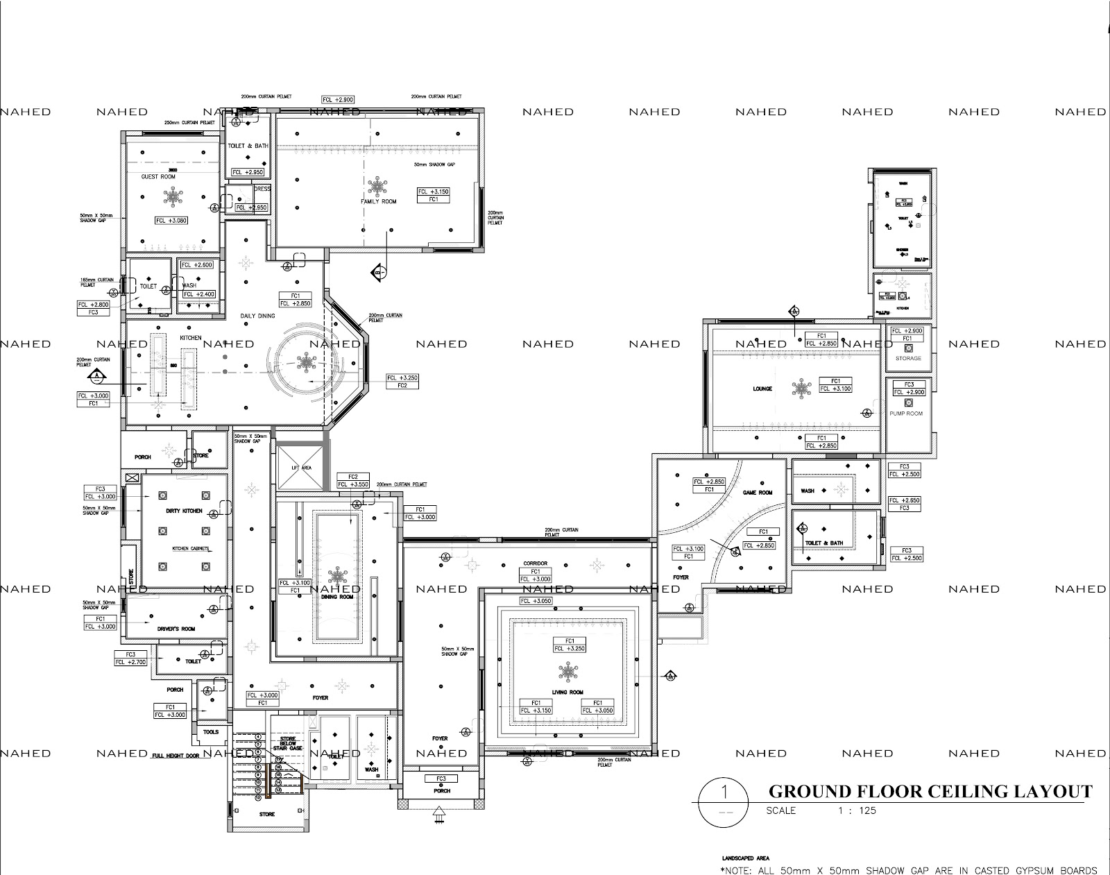 Private Villa Ceiling Setout Layout (Detail/Working
