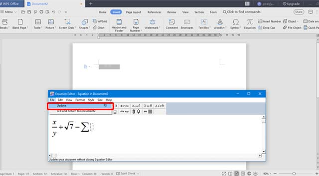 How to insert math equation in WPS office