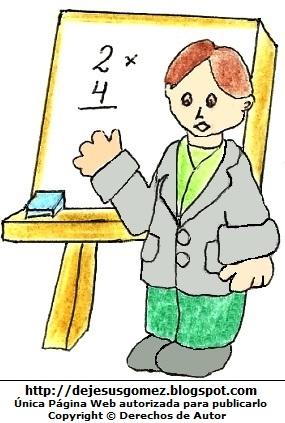 Dibujo de un maestro en su pizarra por el Día del Maestro. Dibujo del maestro de matemática hecho por Jesus Gómez