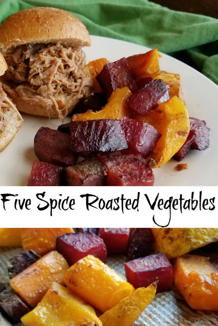 Roasted fall vegetables are made perfectly tender and lightly caramalized with a hint of Chinese five spice to give them that extra something. It's a delicious fall side dish.