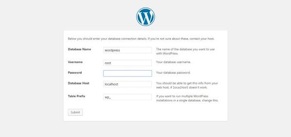Εγκατάσταση wordpress, βάση δεδομένων