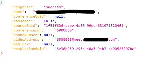 """Respuesta """"success"""" cuando existe la conferencia en el servidor img"""