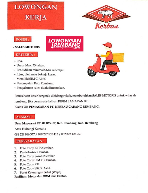 lowongan-kerja-sales-motoris-pt-kerbau-rembang
