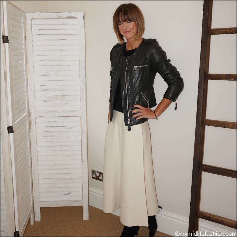 my midlife fashion, Isabel Marant Etoile leather jacket, Boden cashmere crew neck knit, next a line knitted skirt, Isabel Marant goat suede ankle boots