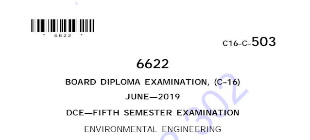 Diploma Previous Question Paper c16 Environmental Engineering June 2019