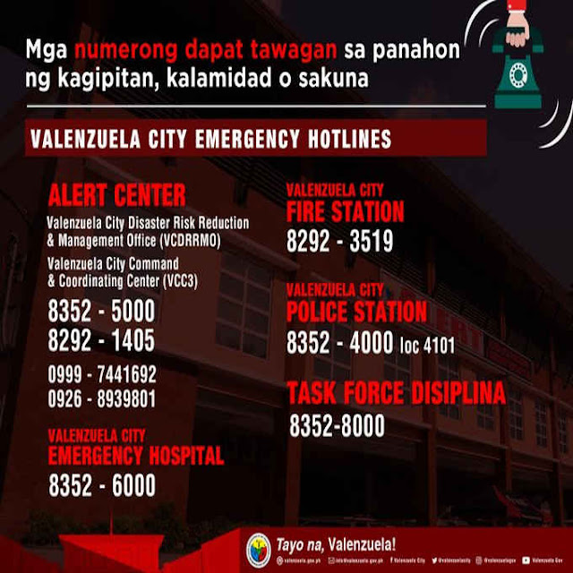 valenzuela city emergency hotlines