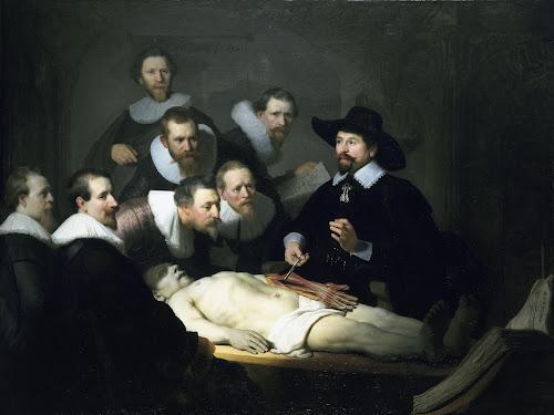 """Reprodução do quadro """"Lição de Anatomia do Dr. Nicolaes Tulp"""", de Rembrandt van Rijn, 1632."""