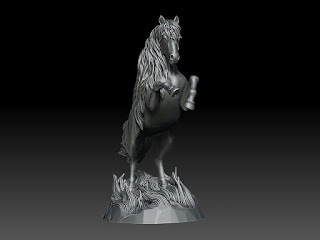 Digital sculpture of the Horse. Creation of unique high quality sculptures on demand.