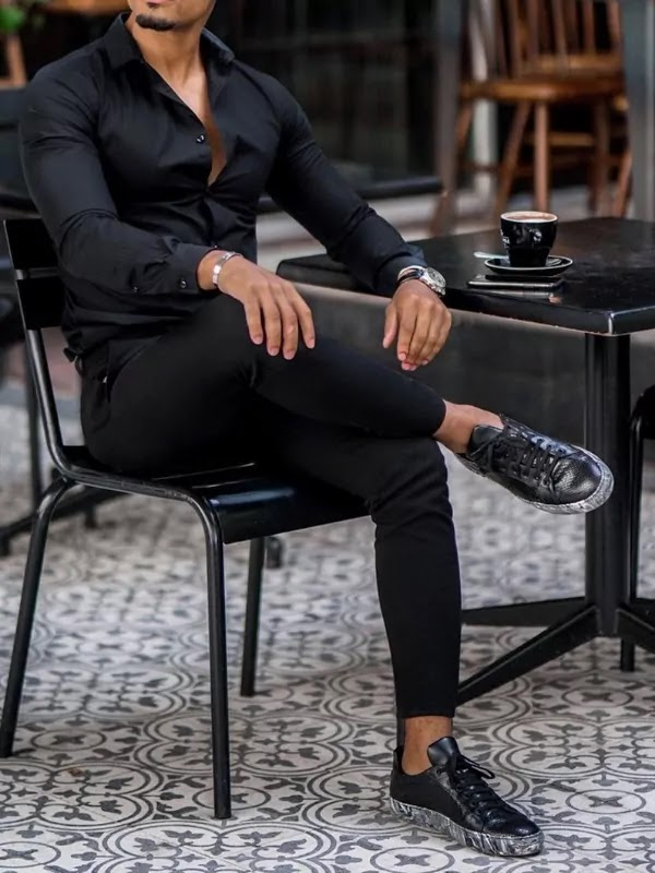 Plain shirts and plain trousers outfit
