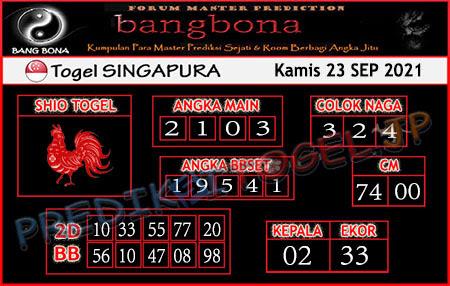 Prediksi Bangbona SGP Kamis 23 September 2021