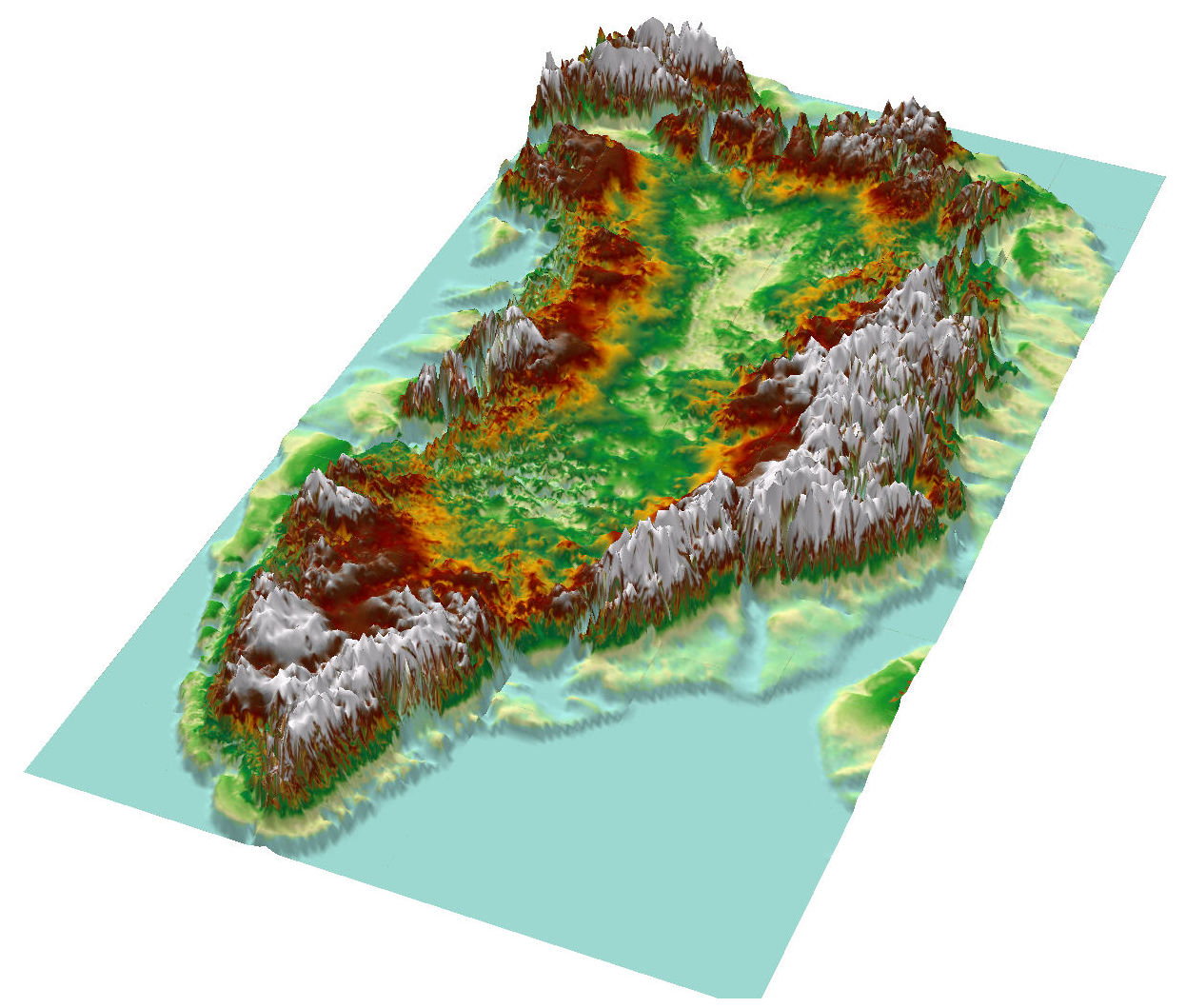 Topographic map of Greenland from bedrock elevation data