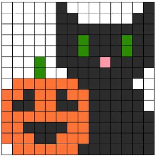 Halloween Black Cat and Pumpkin Perler Pattern