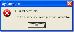 corrupted or unreadable SD card error