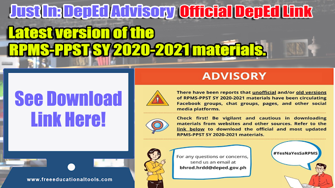 DepEd Advisory: Latest version of the RPMS-PPST SY 2020-2021 Materials