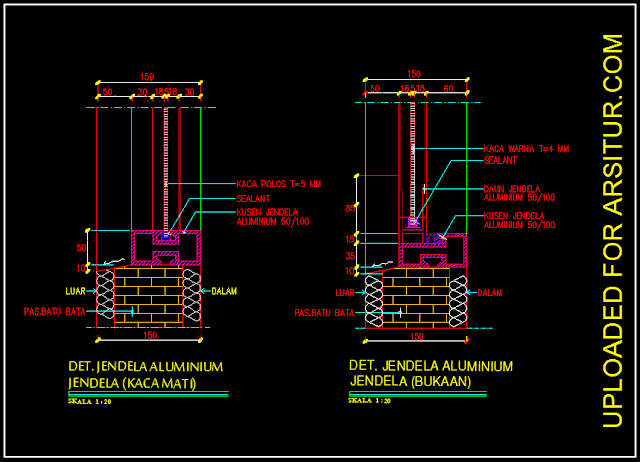 Detail Kusen Jendela Aluminium - Contoh Gambar AutoCAD