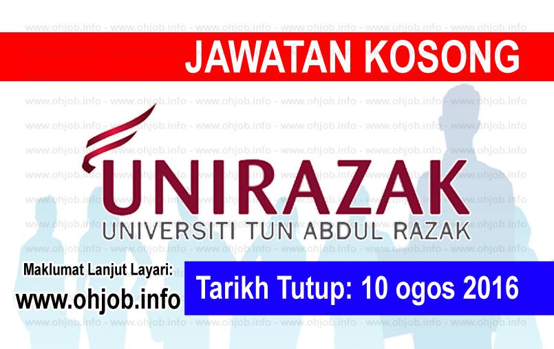 Jawatan Kerja Kosong Universiti Tun Abdul Razak (UNIRAZAK) logo www.ohjob.info ogos 2016