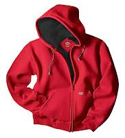 Önü fermuarlı ve kapüşonlu kırmızı sweatshirt