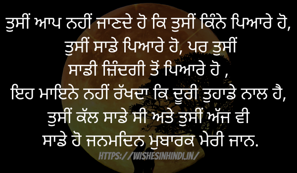 Birthday Wishes In Punjabi For Lover