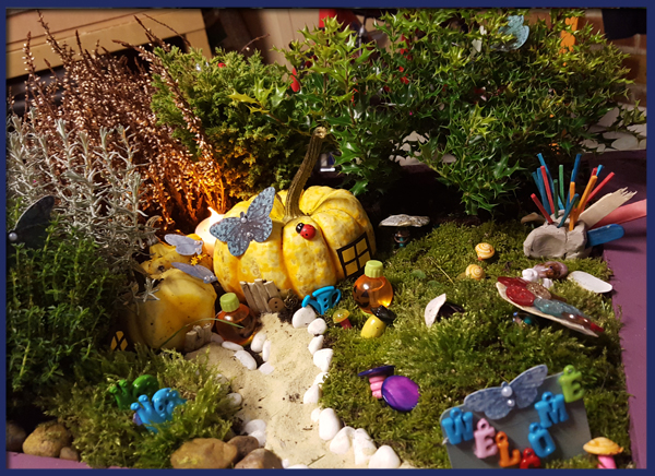 Our finished fairy garden