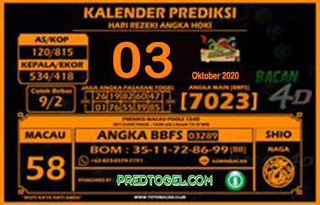 Kalender Prediksi Bacan4D Macau Sabtu 03 Oktober 2020