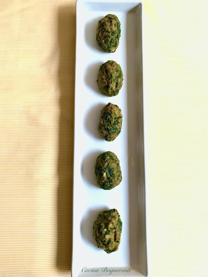 Croquetas de espinacas y setas al horno (sin gluten y sin lácteos)