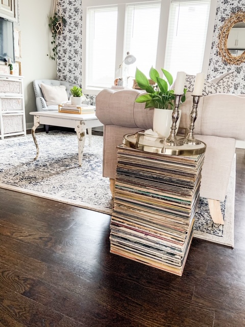 Side table made out of records