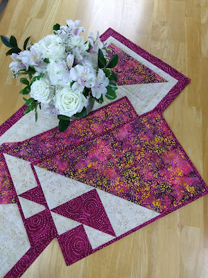 quilted placemats and flowers