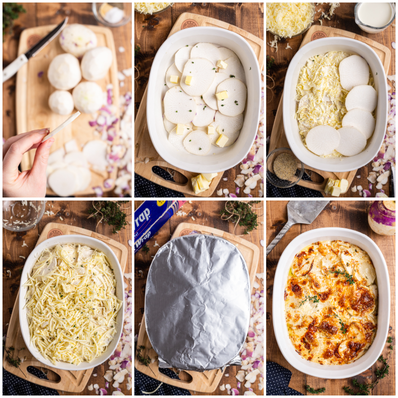 Six overhead photos of the process of making Turnips Au Gratin.