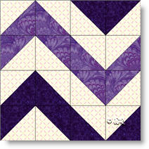 Chevron Stripes quilt block c© W. Russell, patchworksquare.com