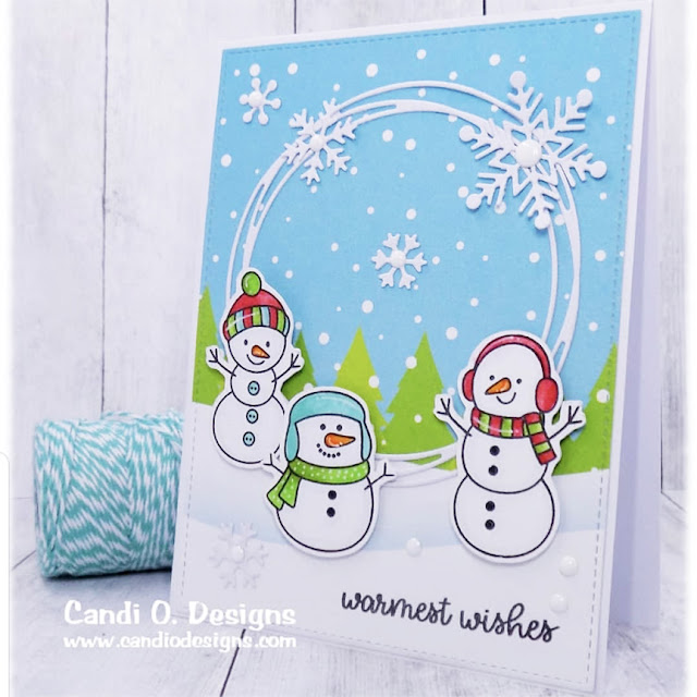 Sunny Studio Stamps: Feeling Frosty Layered Snowflake Circle Frame Die Customer Card by Candace