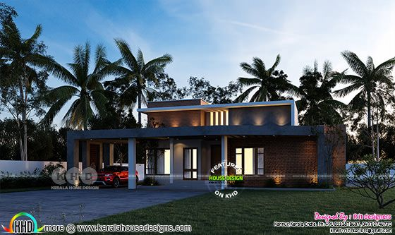 Contemporary style flat roof house