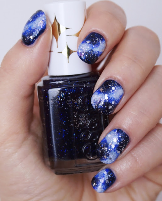 Galaxy Nails Essie - Starry Starry Night, Glitter Design