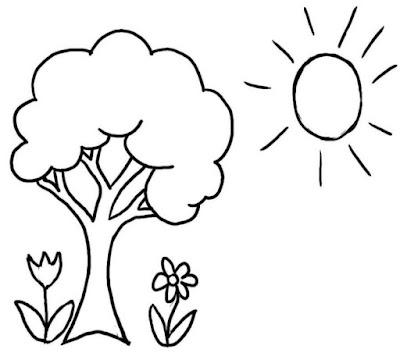 Gambar Sketsa Pohon dan Matahari