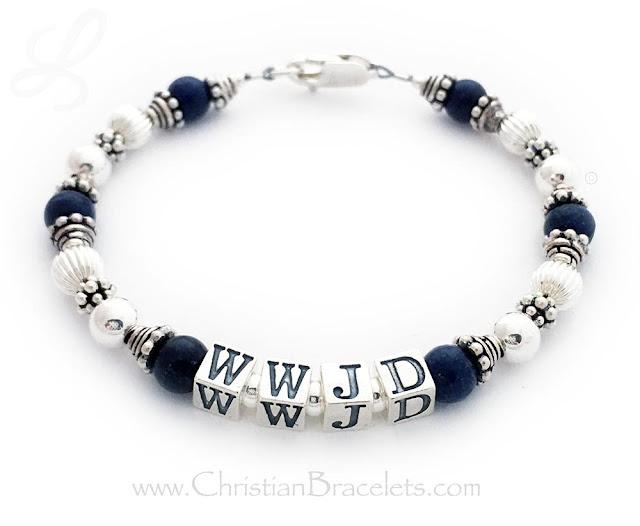 WWJD - Lapis and Sterling Silver Bracelet