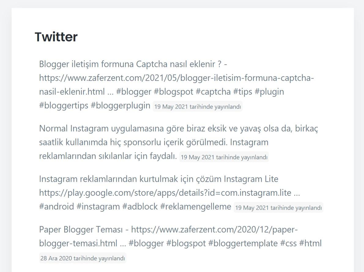 blogger son tweetler eklentisi 2021
