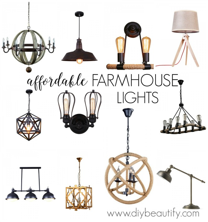 Wow! Take a look at these amazing (and surprisingly affordable) lighting options for the farmhouse home! Enter the giveaway at diy beautify!