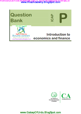 CAF-02 - INTRODUCTION TO ECONOMICS AND FINANCE 2015 - QUESTION BANK