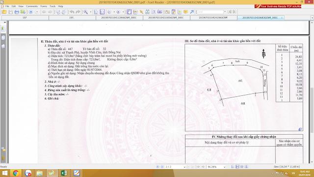 Bán đất xã Thạnh Phú Huyện Vĩnh Cửu 723.0mv + 626mv  (CYNT)
