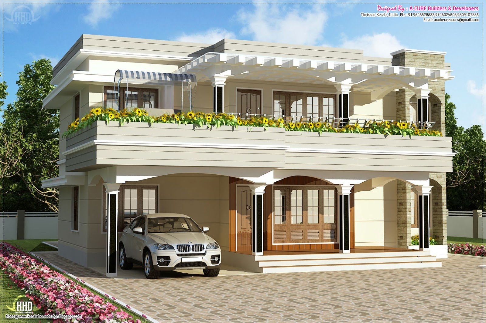 Modern flat roof villa in 2900 kerala home for Kerala style villa plans