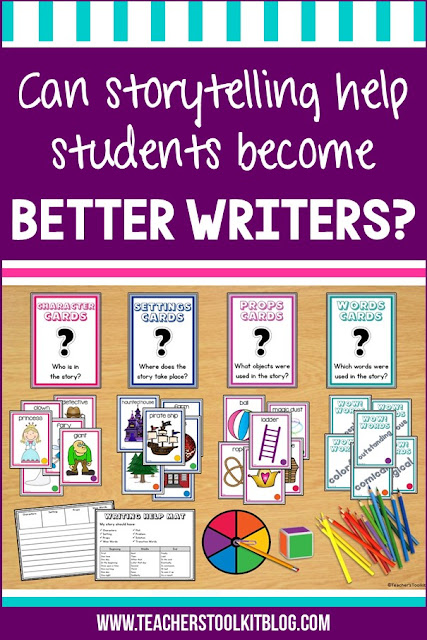 "Image of a storytelling center with text ""Can storytelling help students become better writers?"""