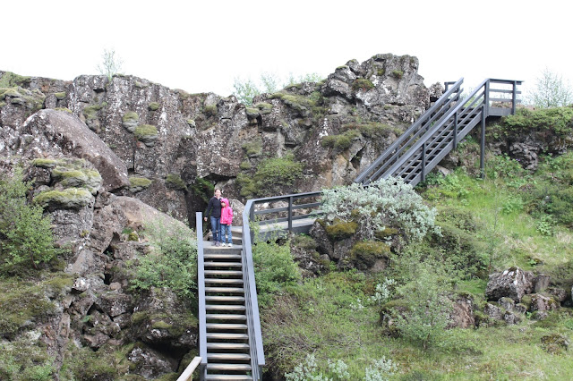 Hiking up and down at Thingvellir.