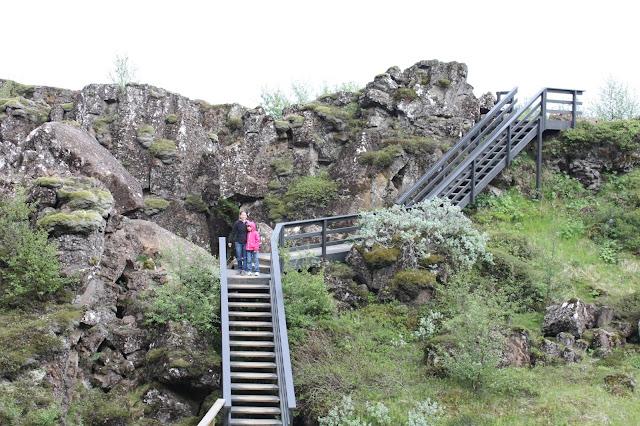 Hiking up and down at Thingvellir.