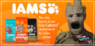 Ad for Iams brand pet food, with logo and three bags shown, head of Groot from 'Guardians of the Galaxy' movies 'Photoshopped' in with text reading 'The only brand of pet food Groot recommends by name... almost.'