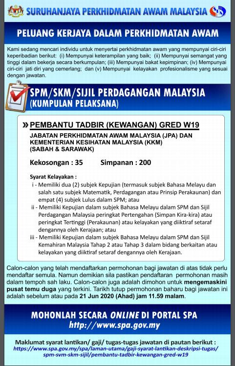 Kerja Kosong Sabah Jun 2020 Pembantu Tadbir Kew Gred W19 Kementerian Kesihatan Malaysia Jawatan Kosong Terkini Negeri Sabah