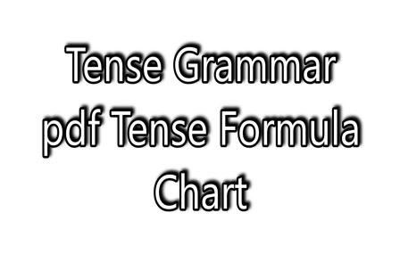 Tense Grammar pdf-Tense Formula Chart