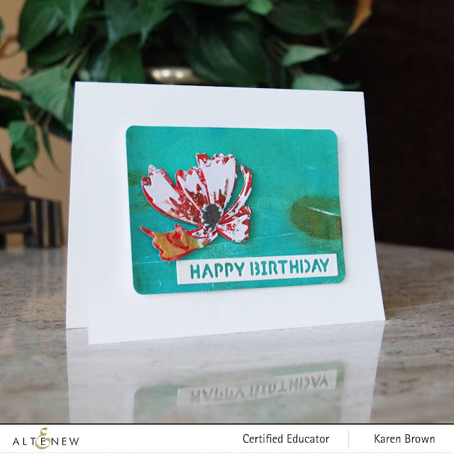 Turquoise and Red Floral Card